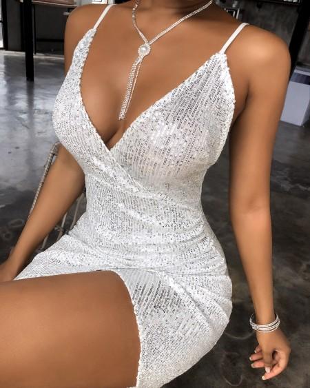 Spaghetti Strap Sequin Plunge Bodycon Dress