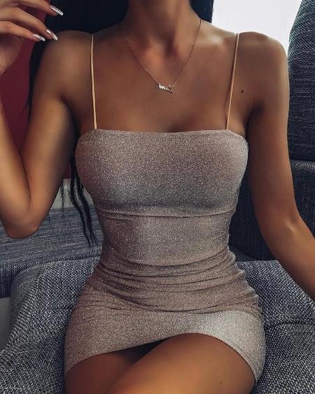 Glitter Spaghetti Strap Bodycon Dress
