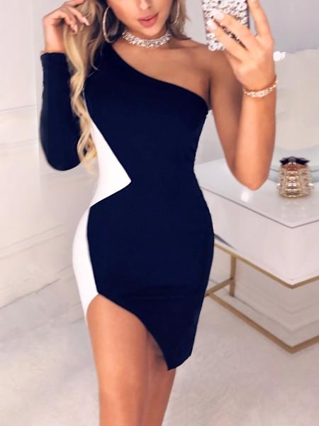 Colorblock One Shoulder Slit Bodycon Dress