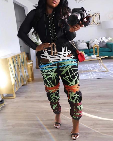 Abstract Print Eyelet Lace Up Top & Pants Set