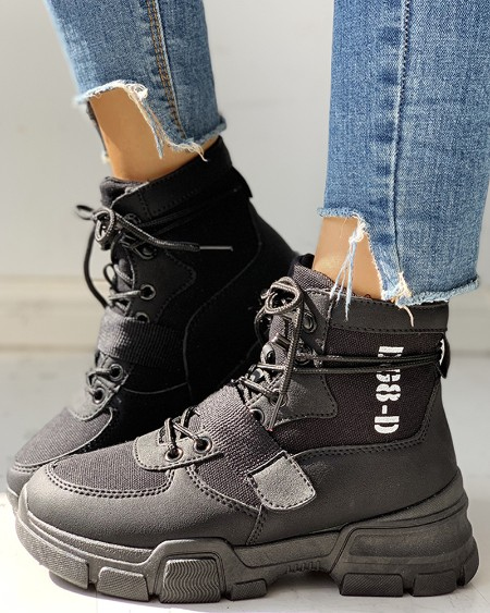 boutiquefeel / Knitted Breathable Lace-Up Casual Boots