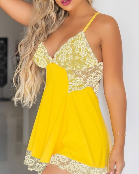 Floral Lace Trim Backless Babydoll