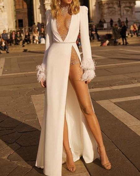 Deep V Studded Embellished Evening Dress