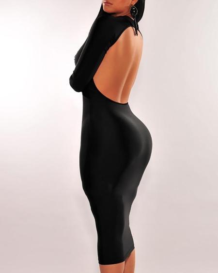 boutiquefeel / Solid Mock Neck Backless Dress