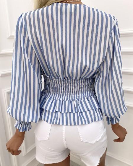 Striped Puff Sleeve Shirring Waist Top
