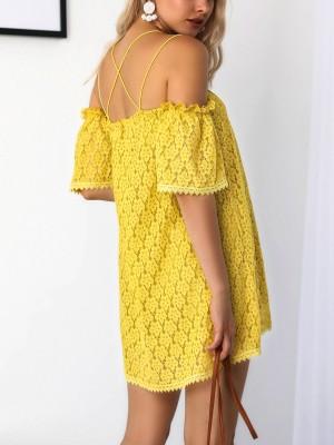 Flower Lace Off Shoulder Loose Mini Dress