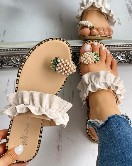 boutiquefeel / Pineapple Pattern Toe Ring Frill Hem Casual Sandals