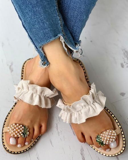 Pineapple Pattern Toe Ring Frill Hem Casual Sandals