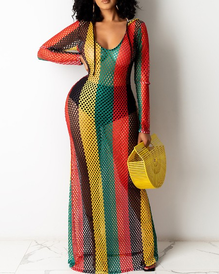 Colorblock Hollow Out Hooded Maxi Dress