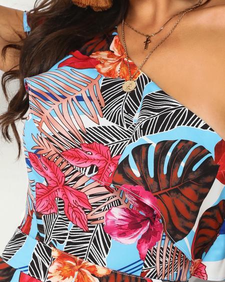 boutiquefeel / One Shoulder Tropical Print Ruffles Romper