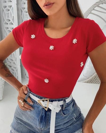Beaded Short Sleeve T-Shirt