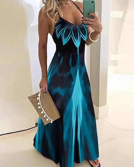 Spaghetti Strap Floral Tie Dye Print Satin Maxi Dress