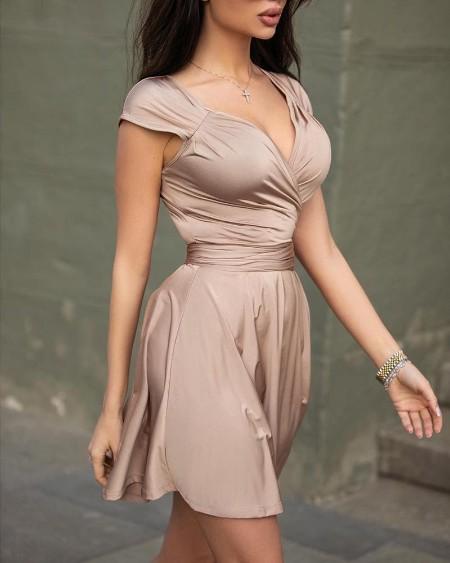 V-Neck Ruched Design Mini Dress