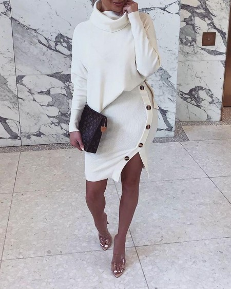 Solid Two Piece Sweater Dress