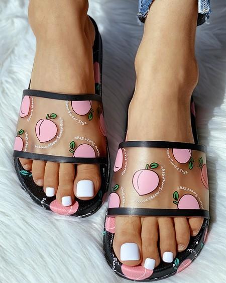 Transparent Peach Pattern Flat Sandals