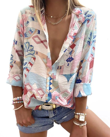 Floral Graphic Print Button Front Shirt
