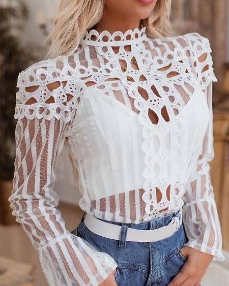 Lattice Design Sheer Mesh Striped Top
