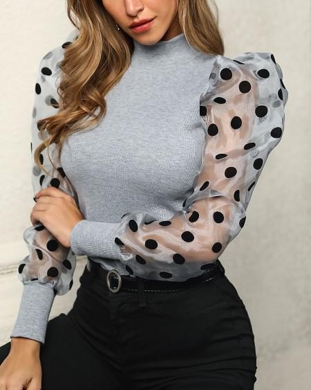 Mesh Dot Puffed Sleeve Top
