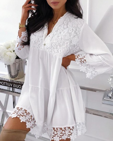 Crochet Lace Insert Buttoned Casual Dress