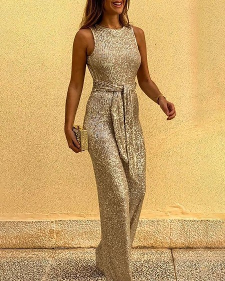 Glitter Round Neck Sleeveless Backless Sequins Jumpsuit