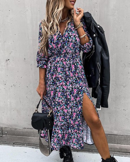 Ditsy Floral Print High Slit Maxi Dress