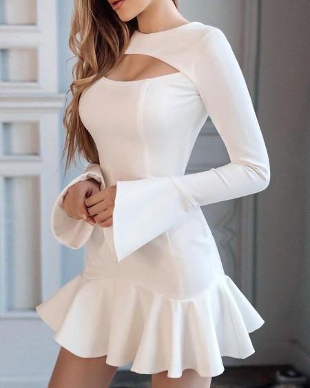 boutiquefeel / Plain Flared Sleeve Ruffle Hem Cutout Dress