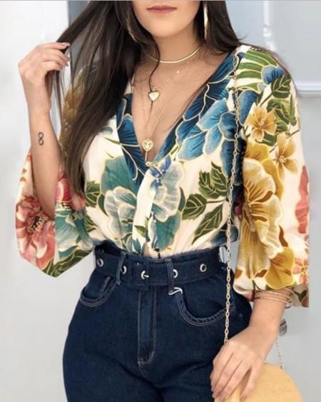 Plunge Lantern Sleeve Backless Floral Print Blouse