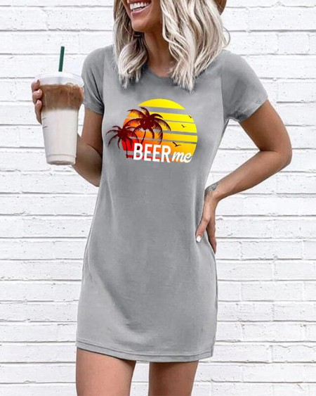 boutiquefeel / Beer Me Beach Print T-Shirt Dress