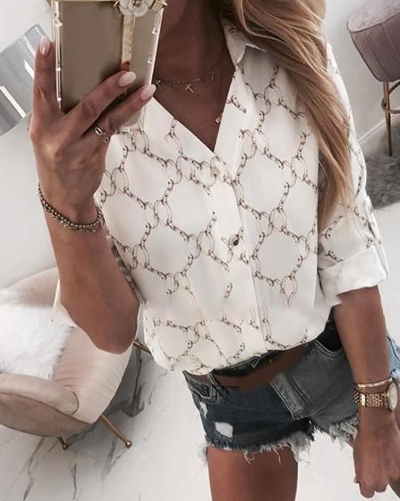 Chain Print Adjustable Sleeve Button Design Shirt