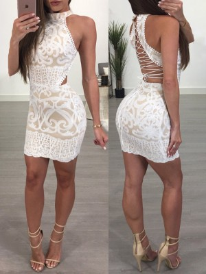 Appliqued Lace Up Halter Cocktail Party Bodycon Dress
