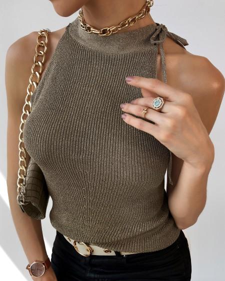 boutiquefeel / Halter Rib-Knit Sleeveless Plain Top