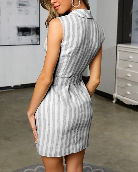 Striped Buttoned Detail Sleeveless Blazer Dress