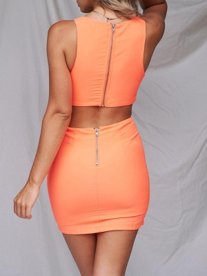 Solid Scrunch Front Cutout Waist Mini Dress