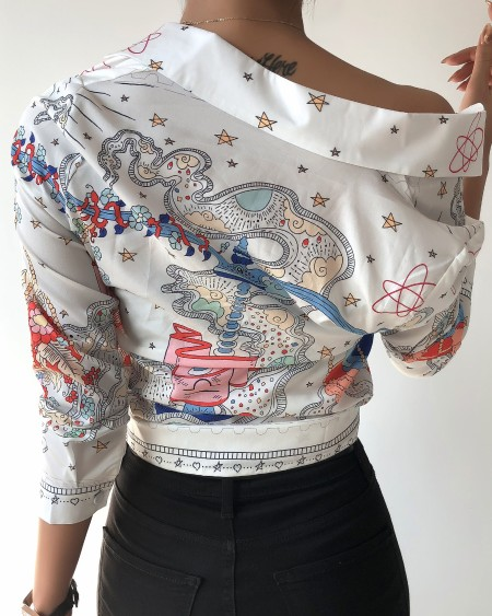 Tie Neck Scarf Print  Casual Shirt