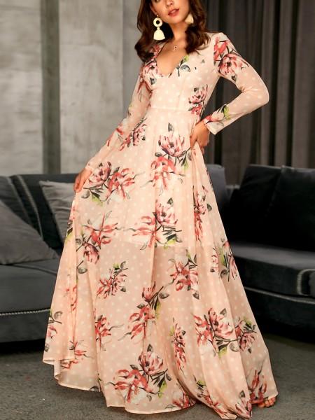 Floral Print Deep V-Neck Maxi Dress