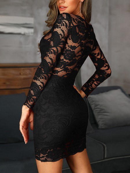 See Through Lace Overlay Bodycon Dress