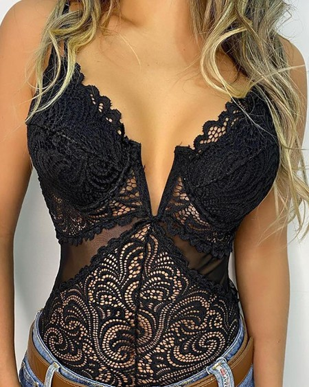 Crochet Lace Sheer Mesh Plunge Bodysuit