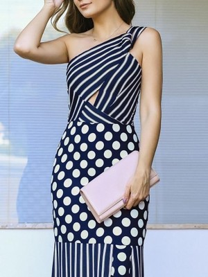 Stripes & Dots Splicing One Shoulder Ruffle Hem Dress