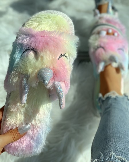Fluffy Unicorn Open Toe Flat Slippers