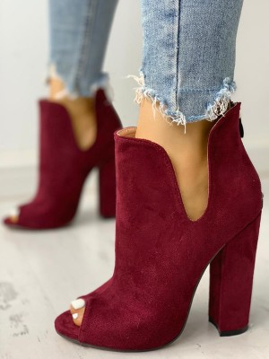 Solid Suede Peep Toe Chunky Heeled Boots