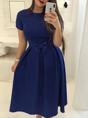 Solid Bow Front Short Sleeve Pleated Dress