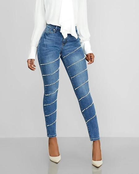 boutiquefeel / High Waist Beaded Casual Jeans