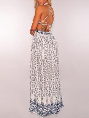 Geo Print Halter Crisscross Back Thigh Slit Maxi Dress