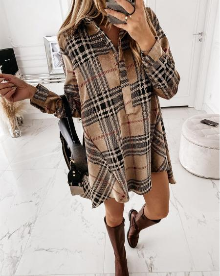 Plaid Long Sleeve Casual Shirt Dress