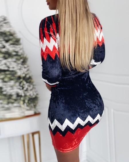 Christmas Colorblock Long Sleeve Bodycon Dress