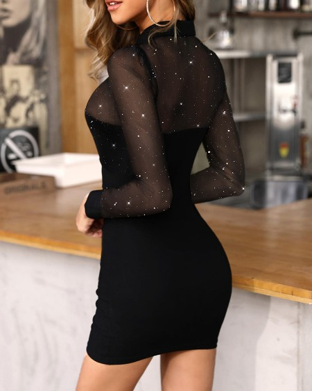 Glitter Semi Sheer Mesh Bodycon Dress