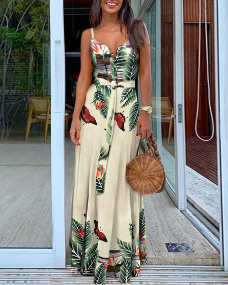 Tropical Butterfly Print Plunge Maxi Dress