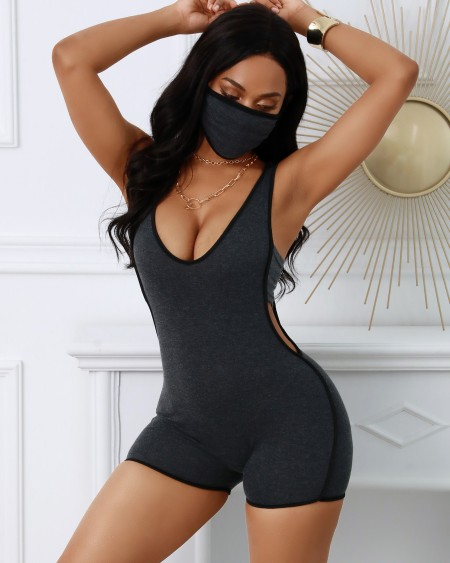 Contrast Binding Plunge Cutout Fitted Romper With Face Cover