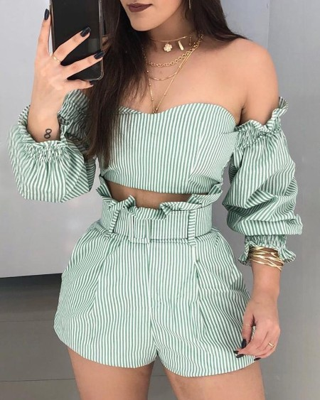 Striped Off Shoulder Frill Hem ToShorts Set