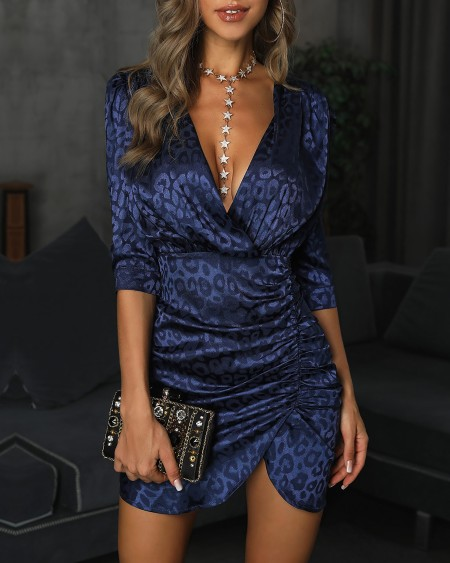 Deep V-Neck Ruched Design Leopard Print Dress